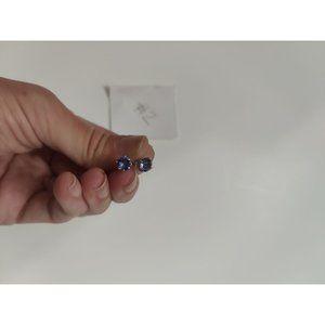 BNIB blue/purple silver stud earrings (2